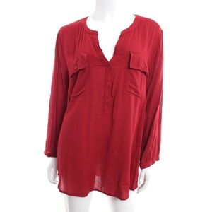 Lucky Brand Red Henley Popover Top Tunic